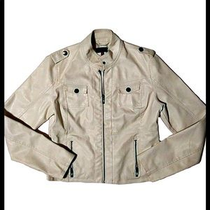 New Look White Poly Leather Jacket